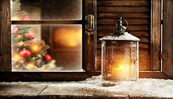 Christmas window Decoration Ideas with Lamps