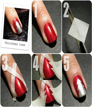 Christmas Red Nail Paint With White Stars